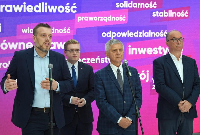 Od lewej: Adrian Zanberg, Dariusz Standerski, Marek Belka, Włodzimierz Czarzasy / Radek Pietruszka   /PAP