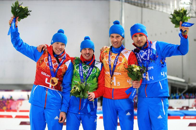 Od lewej: Aleksiej Wołkow, Jewgienij Ustiugow, Dmitrij Małyszko i Anton Szypulin /Richard Heathcote /Getty Images