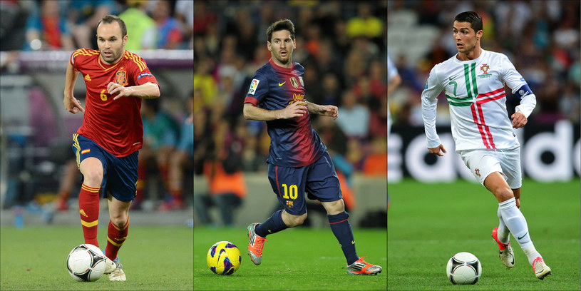 Od lewej: Andres Iniesta, Lionel Messi i Cristiano Ronaldo. /AFP