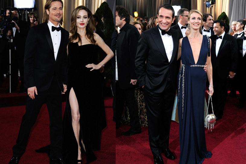 Od lewej: Brad Pitt, Angelina Jolie, Jean DuJardin i Alexandra Lamy /Getty Images