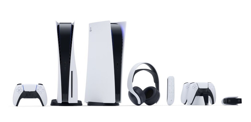 Od lewej: DualSense, PlayStation 5, PlayStation 5 Digital Edition, PULSE 3D, Media Remote, Stacja ładująca, HD Camera /materiały prasowe