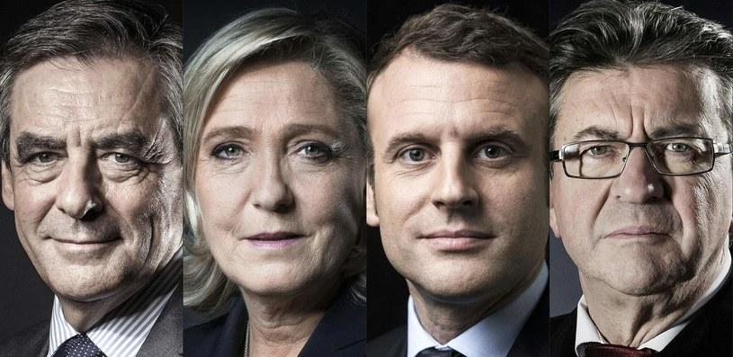 Od lewej Francois Fillon, Marine Le Pen, Emmanuel Macron oraz Jean-Luc Melenchon /AFP