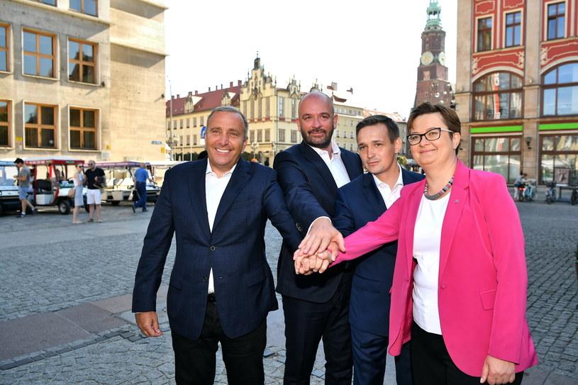 Od lewej: Grzegorz Schetyna, Jacek Sutryk, Michał Jaros, Katarzyna Lubnauer / Maciej Kulczyński    /PAP