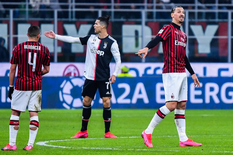 Od lewej: Ismael Bennacer, Cristiano Ronaldo, Zlatan Ibrahimović /ALBERTO PIZZOLI /AFP