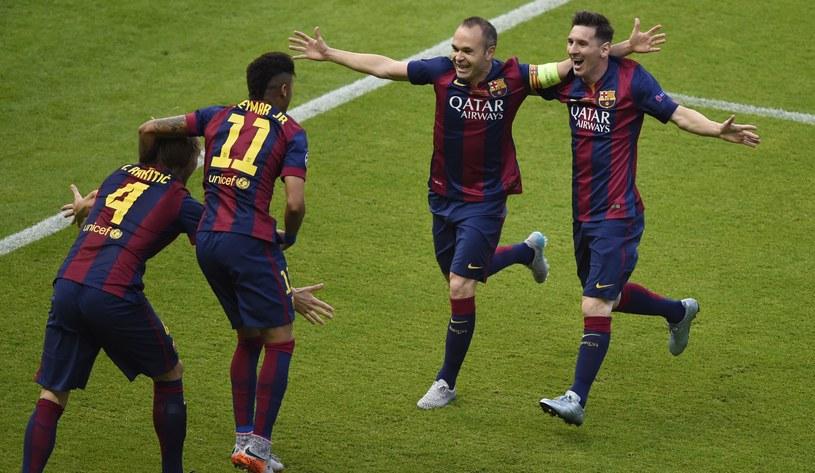 Od lewej: Ivan Rakitić, Neymar, Andre Iniesta i Lionel Messi z FC Barcelona /AFP