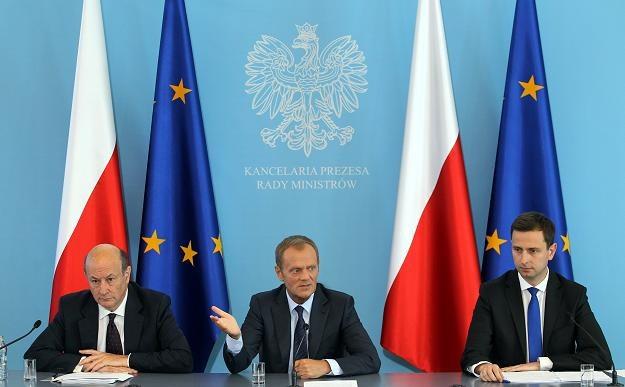 Od lewej: Jacek Rostowski, Donald Tusk, Władysław Kosiniak-Kamysz /PAP