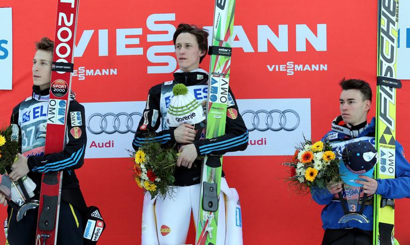 od lewej: Jurij Tepes, Peter Prevc i Stefan Kraft na podium /Grzegorz Momot /PAP