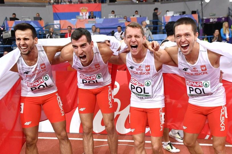 Od lewej: Kacper Kozłowski, Rafał Omelko, Przemysław Waściński i Łukasz Krawczuk /AFP