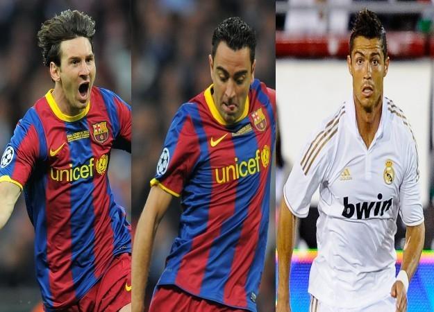 Od lewej: Leo Messi, Xavi i Cristiano Ronaldo /AFP