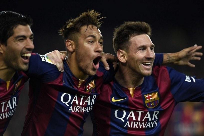 Od lewej: Luis Suarez, Neymar i Leo Messi z Barcelony /AFP