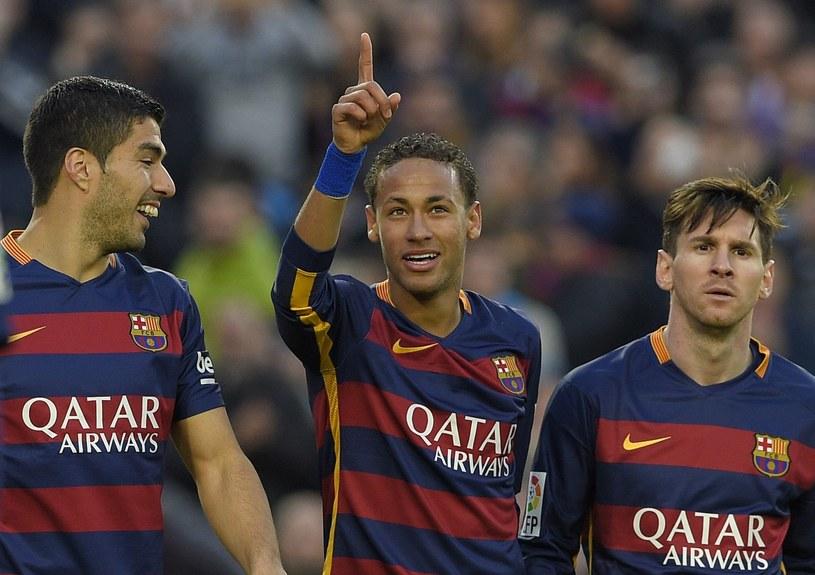Od lewej: Luis Suarez, Neymar i Leo Messi z FC Barcelona /AFP