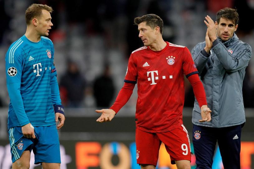 Od lewej: Manuel Neuer, Robert Lewandowski i Javi Martinez /PAP/EPA