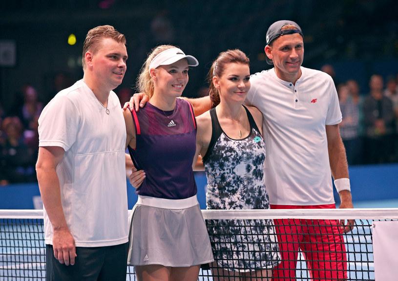 Od lewej: Marcin Matkowski, Caroline Wozniacki, Agnieszka Radwańska i Łukasz Kubot /Damian Klamka /East News