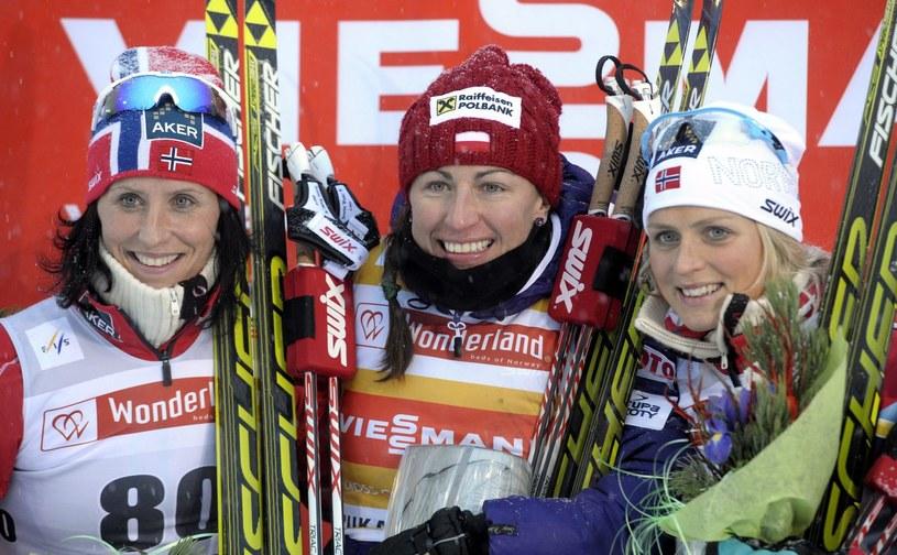 Od lewej:  Marit Bjoergen, Justyna Kowalczyk i Therese Johaug /AFP