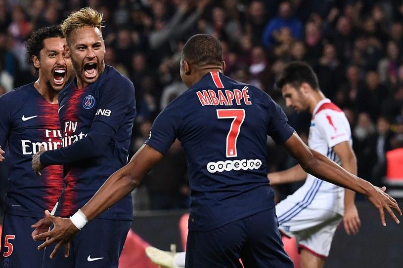 Od lewej: Marquinhos, Neymar i Kylian Mbappe /AFP