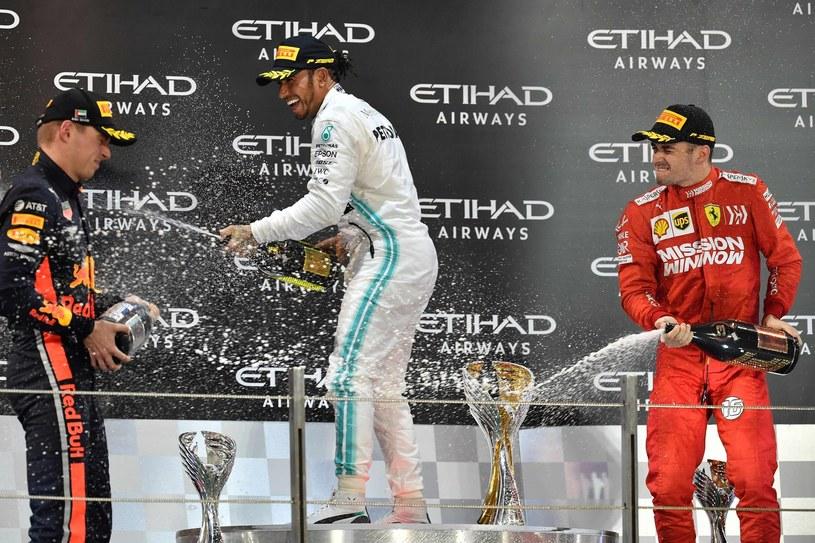 Od lewej: Max Verstappen, Lewis Hamilton i Charles Leclerc /AFP