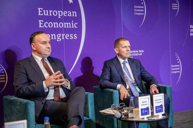 Od lewej: Michał Kobosko, przewodniczący partii Polska 2050 Szymona Hołowni oraz Bartłomiej Nowak, politolog z Akademii Vistula /Fot. Ireneusz Rek /INTERIA.PL