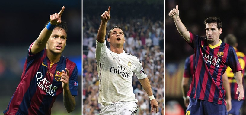 Od lewej: Neymar, Cristiano Ronaldo i Lionel Messi /AFP
