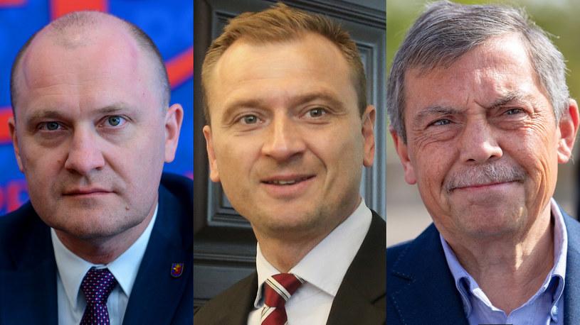 Od lewej: Piotr Krzystek (Bezpartyjni), Sławomir Nitras (Koalicja Obywatelska), Bartłomiej Sochański (PiS) /Mariusz Gaczynski/Michal Dyjuk/Robert Stachnik /Reporter