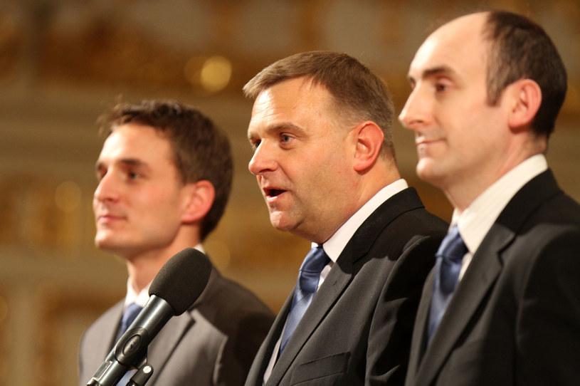 Od lewej: Piotr Rutkowski, Arkadiusz Kasprzak i Karol Klimczak z Lecha Poznań /MACIEJ OPALA / NEWSPIX.PL /Newspix