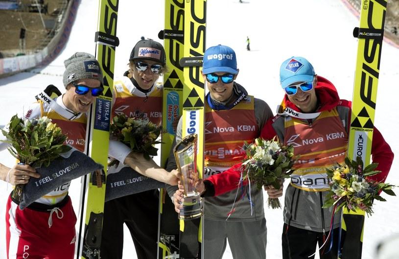 Od lewej: Piotr Żyła, Dawid Kubacki, Maciej Kot i Kamil Stoch /PAP/EPA