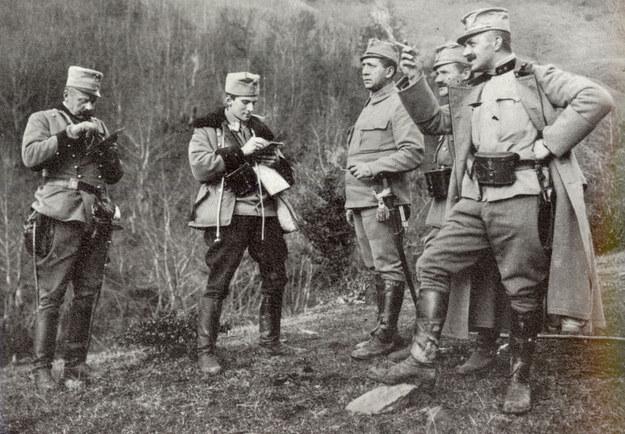 Od lewej: por. August Krasicki, chor. Józef Łepkowski, por. Merwin, por. Jan Skorobohaty-Jakubowski, kpt. Włodzimierz Zagórski. /Archiwum autora