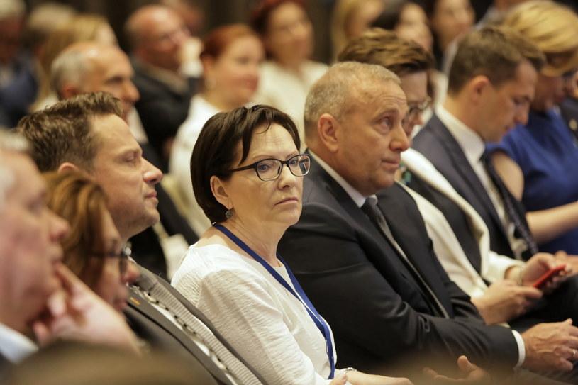 Od lewej: prezydent stolicy Rafał Trzaskowski, europosłanka Ewa Kopacz i przewodniczący PO Grzegorz Schetyna /Wojciech Olkuśnik /PAP
