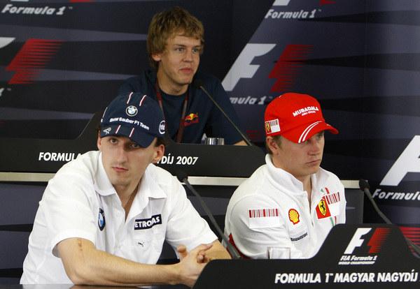 Od lewej: Robert Kubica, Sebastian Vettel i Kimi Raikkonen w 2007 roku