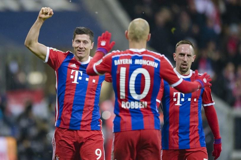 Od lewej: Robert Lewandowski, Arjen Robben i Franck Ribery. Dwóch ostatnich zabrakło w półfinałach z Barceloną /AFP