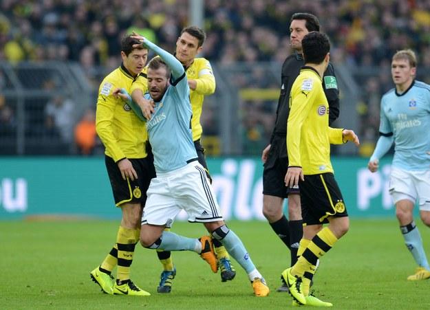 Od lewej: Robert Lewandowski, Rafael van der Vaart i Sebastian Kehl. /AFP