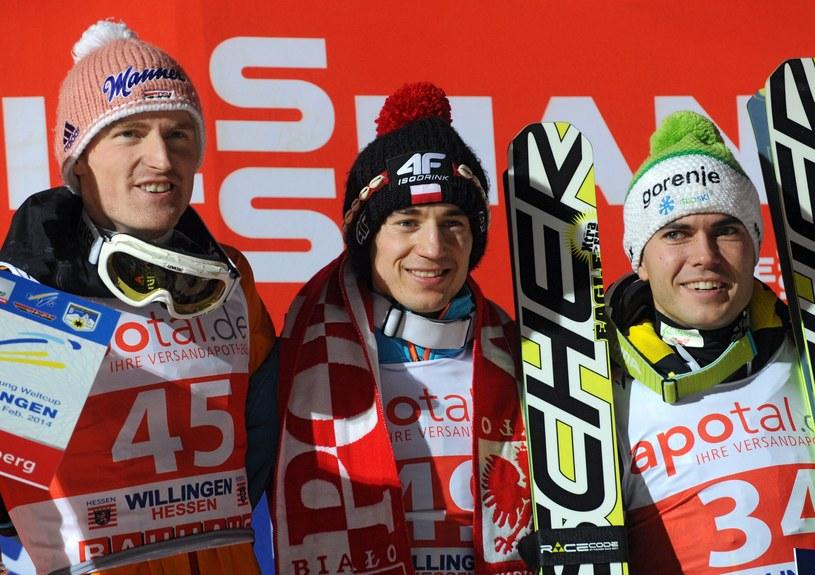 Od lewej Severin Freund, Kamil Stoch i Jernej Damjan /AFP