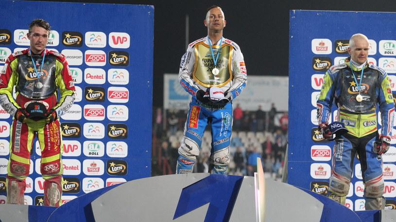 Od lewej: srebny medalista Czech Vaclav Milik, złoty medalista Duńczyk Nicki Pedersen i zdobywca brązowego medalu Polak Krzysztof Kasprzak /Andrzej Grygiel /PAP