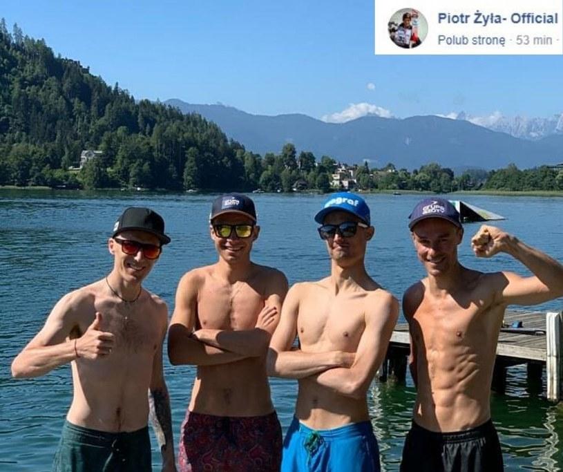 """(Od lewej) Stefan Hula, Jakub Wolny, Maciej Kot i Piotr Żyła/ Źródło: Facebook """"Piotr Żyła - Official /"""