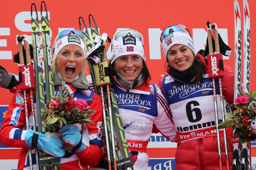 Od lewej Therese Johaug, Marit Bjoergen i Heidi Weng /AFP