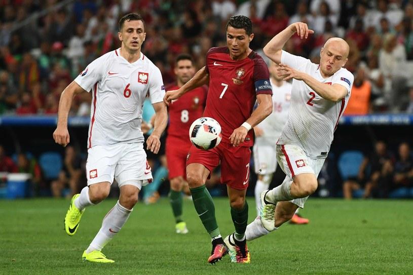 Od lewej: Tomasz Jodłowiec (Legia), Cristiano Ronaldo (Real Madryt) i Michał Pazdan (Legia) w ćwierćfinale Euro 2016 /AFP
