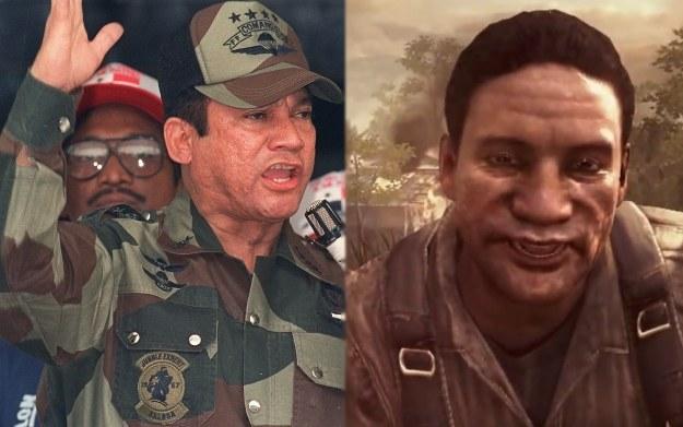 Od lewej zdjęcie Manuela Noriegi z 1988 r. i jego wizerunek w grze Call of Duty: Black Ops II /AFP