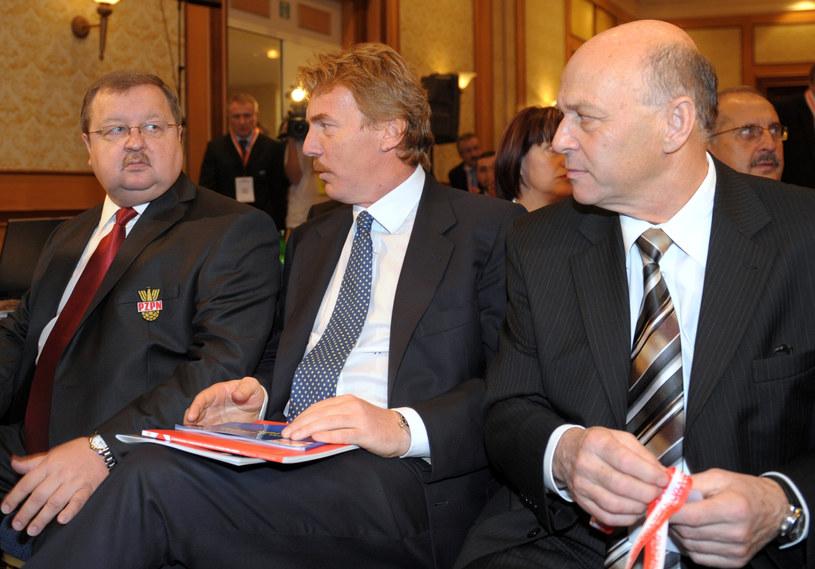 Od lewej: Zdzisław Kręcina, Zbigniew Boniek, Grzegorz Lato /JANEK SKARZYNSKI / AFP /AFP