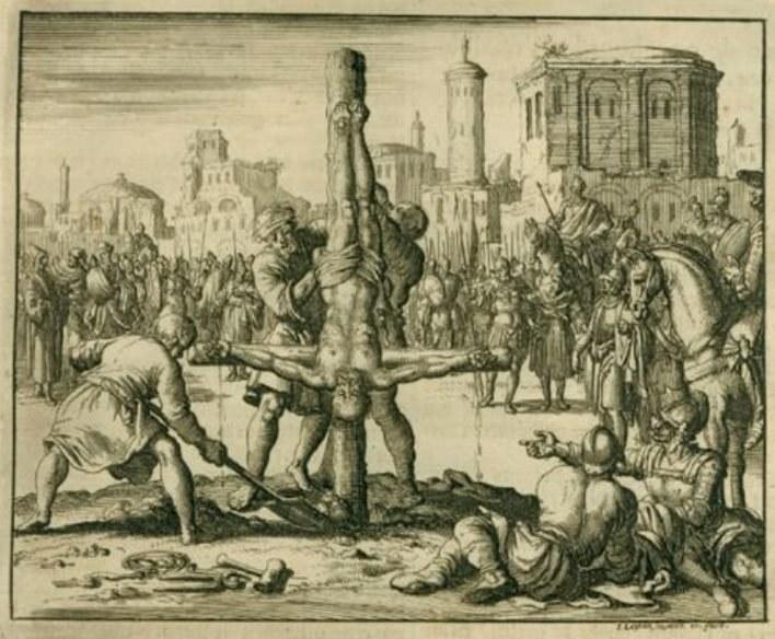 Od powstania tego sposobu zabijania istniało kilka jego wersji. Tak został uśmiercony św. Piotr /Wikimedia Commons /INTERIA.PL/materiały prasowe
