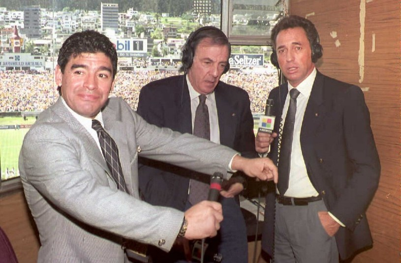 Od prawej: Enrique Wolff, Cesar Luis Menotti i Diego Maradona /AFP