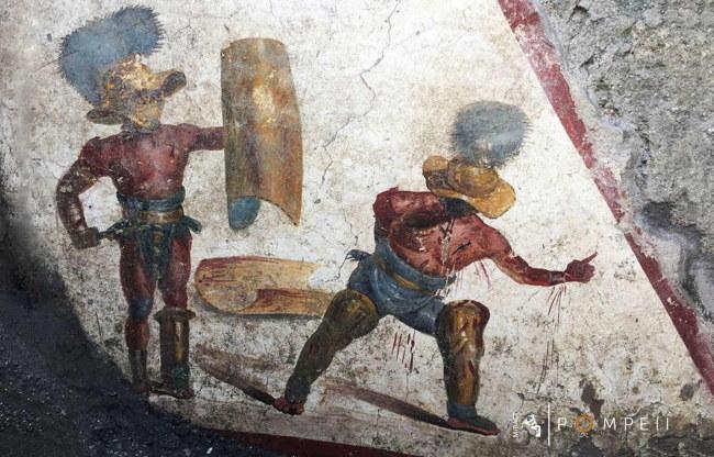 Odkryty w Pompejach fresk ukazujący końcowy akt walki gladiatorów /ITALIAN CULTURE MINISTRY /PAP/EPA
