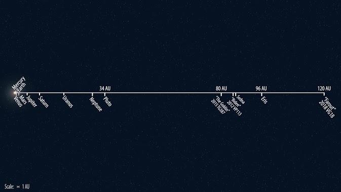 Odległość Farout od Słońca w porówaniu z odległościami innych obiektów Ukłądu Słonecznego / Roberto Molar Candanosa/Scott S. Sheppard/Carnegie Institution for Science /Materiały prasowe
