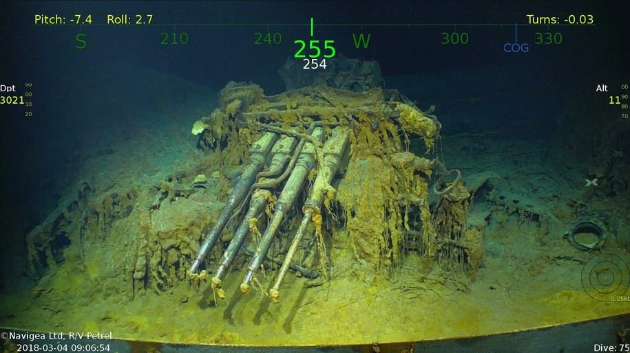 Odnaleziony na dnie Morza Koralowego lotniskowiec USS Lexington na zdjęciach wykonanych przez statek badawczy Petrel i upublicznionych przez współzałożyciela Microsoftu Paula Allena, który sfinansował ekspedycję /R/VPetrel HANDOUT /PAP/EPA