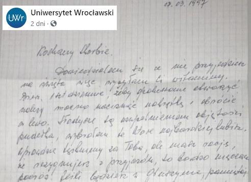 Odnaleziony po 23 latach list /Uniwersytet Wrocławski /facebook.com