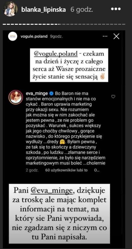 Odpowiedź Blanki Lipińskiej na słowa Ewy Minge /blanka_lipinska /Instagram