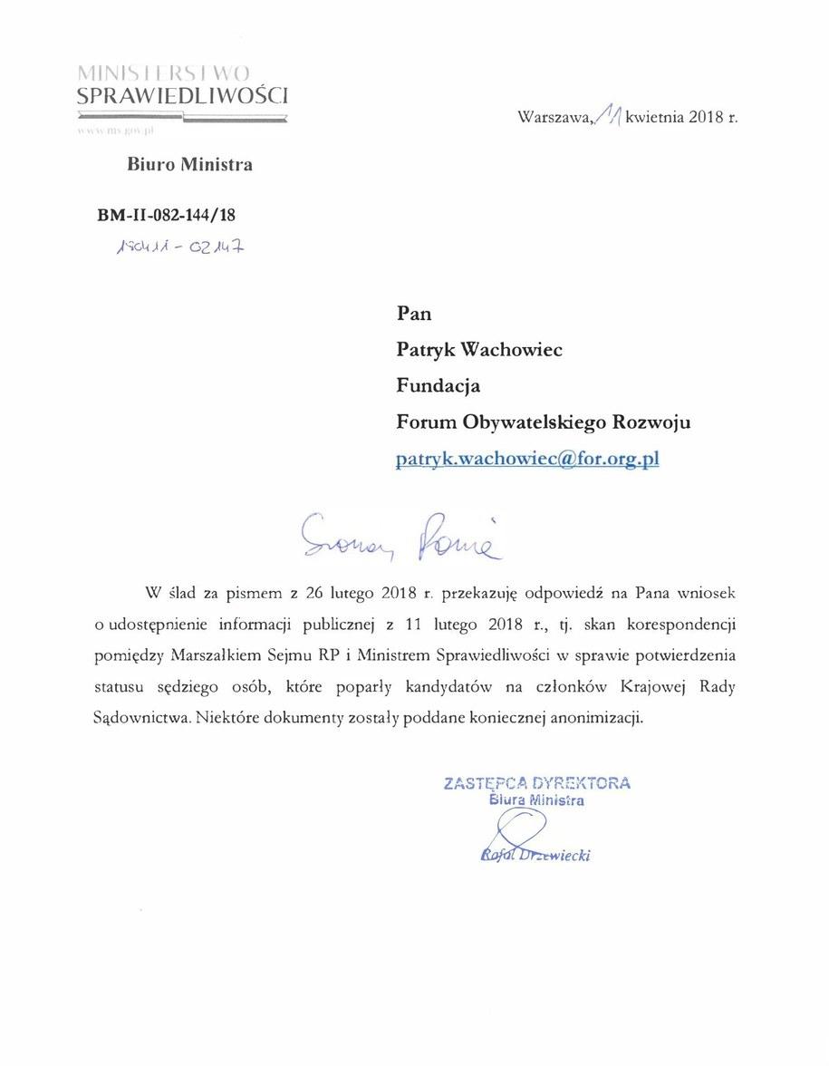 Odpowiedź, którą otrzymało FOR /Tomasz Skory  /RMF FM
