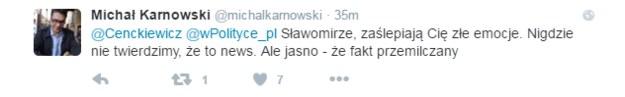 Odpowiedź Michała Karnowskiego /Twitter