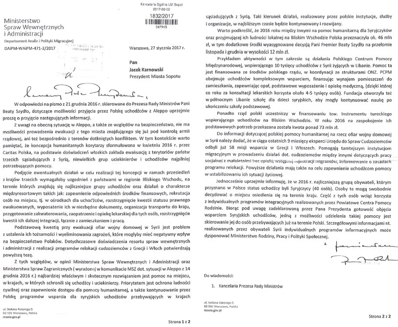 Odpowiedź MSWiA na pismo prezydenta Sopotu Jacka Karnowskiego skierowane do premier Beaty Szydło /