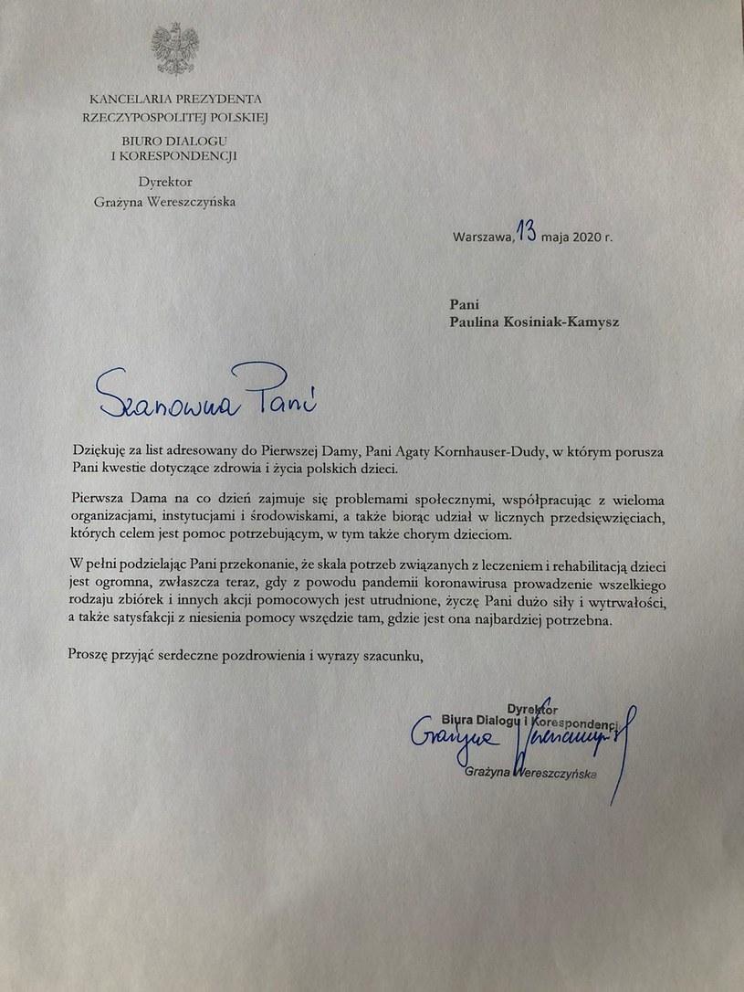 Odpowiedź na list Pauliny Kosiniak-Kamysz /INTERIA.PL