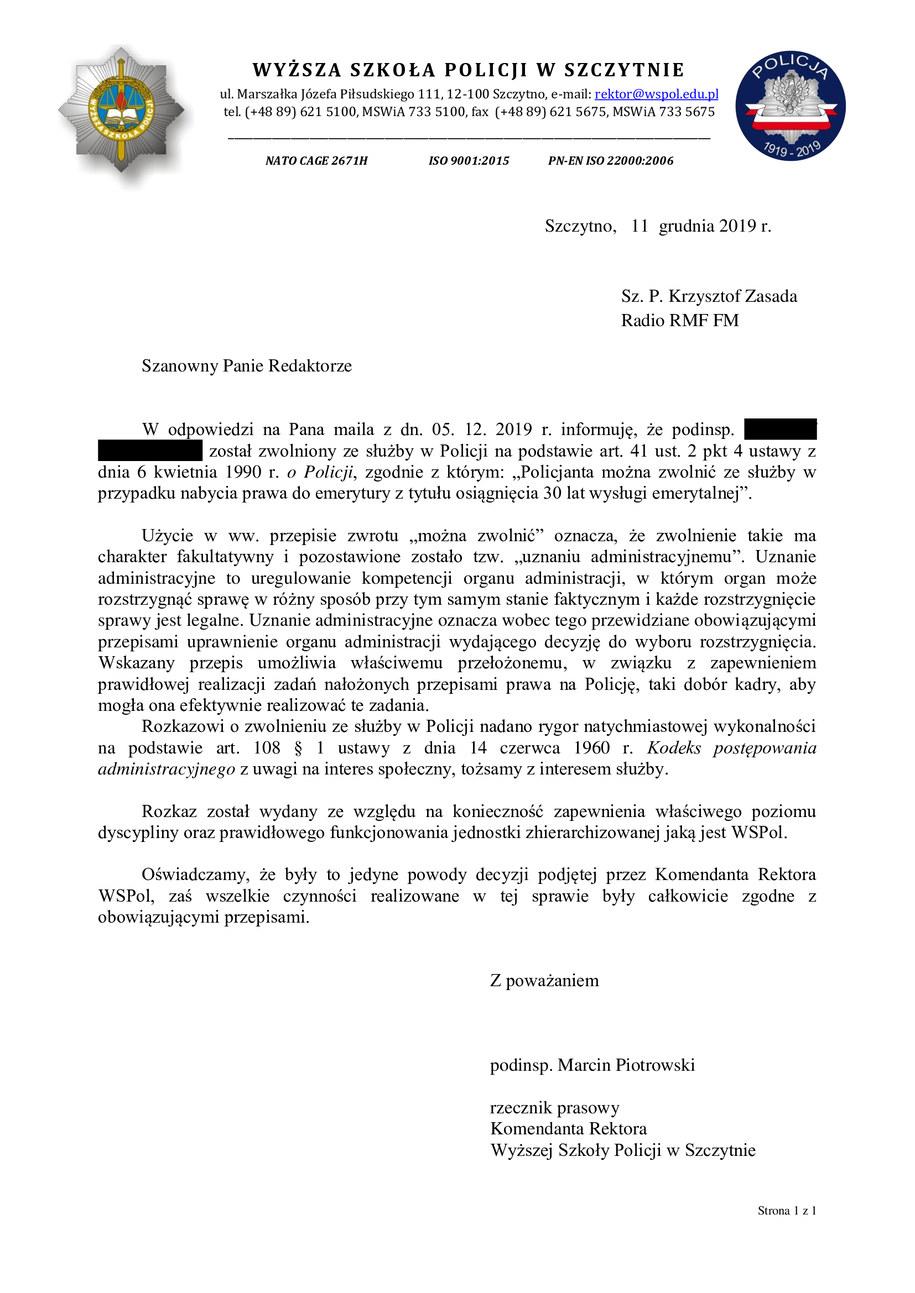 Odpowiedź od uczelni, jaką otrzymał Krzysztof Zasada /Krzysztof Zasada /RMF FM