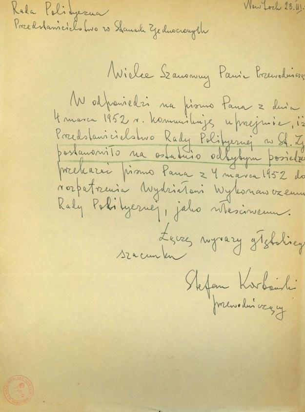 Odpowiedź Stefana Korbońskiego na list Stanisława Gierata, 23 marca 1952 r. /Archiwum Akt Nowych /